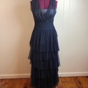 Tadashi Shoji Navy Tiered Lace Formal Evening Gown
